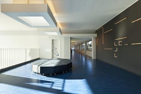 modern public school, corridor blue floor Фото со стока