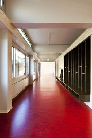 modern public school, corridor red floor photo