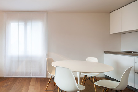 dining table and chairs: Architecture, comfortable apartment, dining table and chairs white