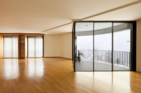 perspective room: beautiful apartment, interior, empty room with windows