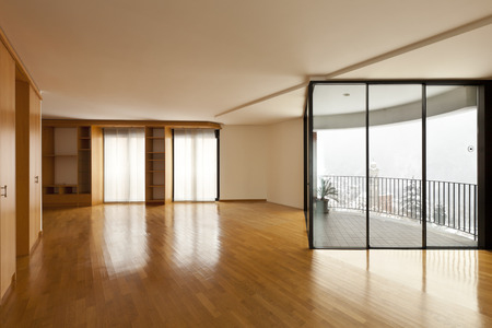 beautiful apartment, interior, empty room with windows photo