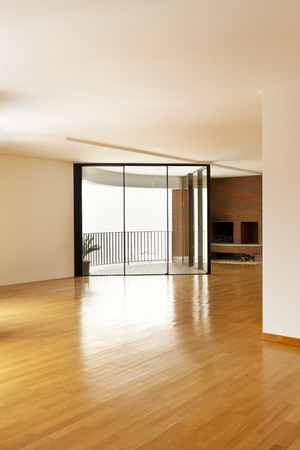 perspective room: beautiful apartment interior, window and fireplace