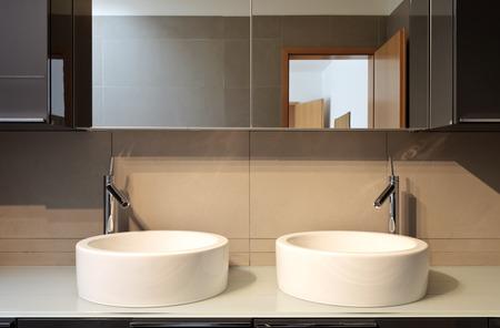 bathroom design: beautiful apartment, interior, bathroom, two sinks and mirror Stock Photo