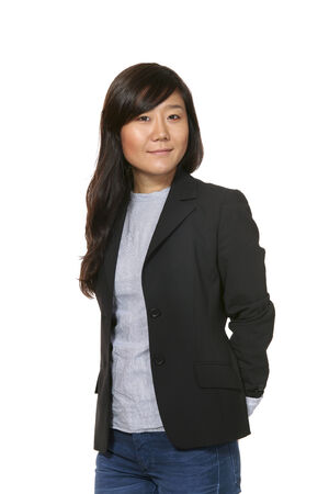 eastern woman portrait over white background