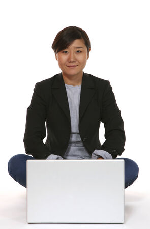 technologic: eastern woman portrait over white background