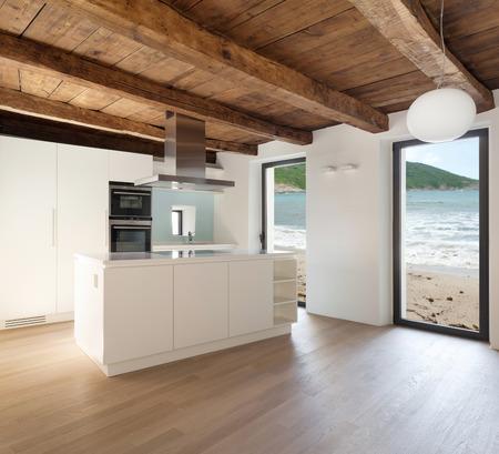 prachtige loft, bekijken binnenlandse keuken, moderne meubels