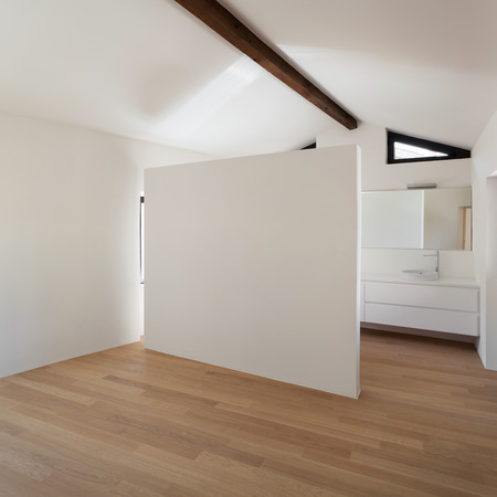 wide open spaces: beautiful modern loft, room with white bathroom Stock Photo