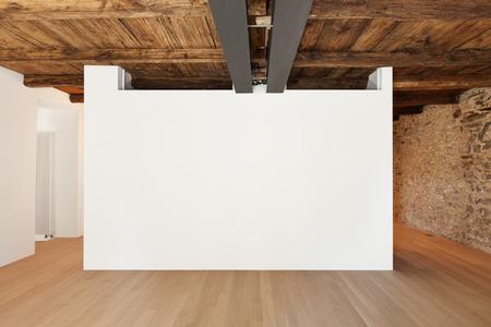 美しいモダンなロフト、白い壁と空の部屋