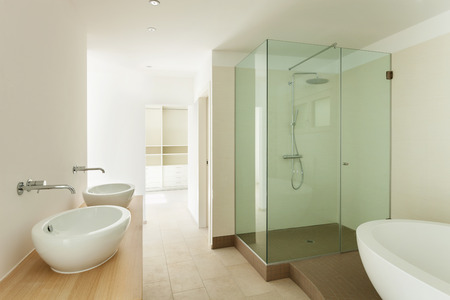 Interior of a new empty house, bathroom