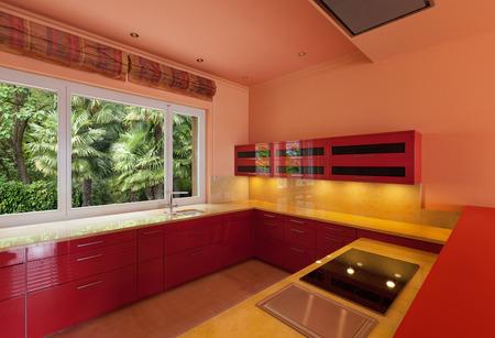 interior of a empty villa, domestic kitchen photo