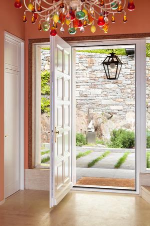wide open: Interior, luxury villa, entrance, door open