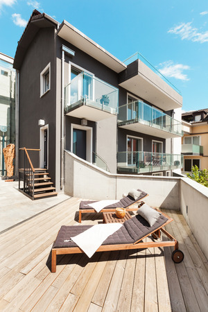 sunbed: beautiful modern house, view from the terrace