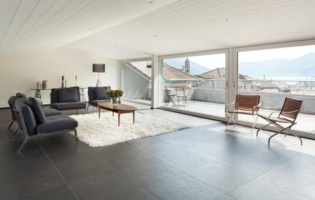 モダンな家具インテリア、美しいロフト