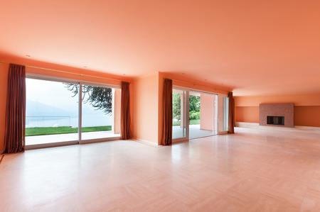 Interior, empty house, wide living room photo