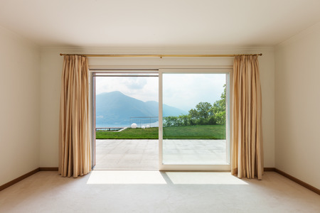 curtain window: Interior, luxury villa, empty room with window