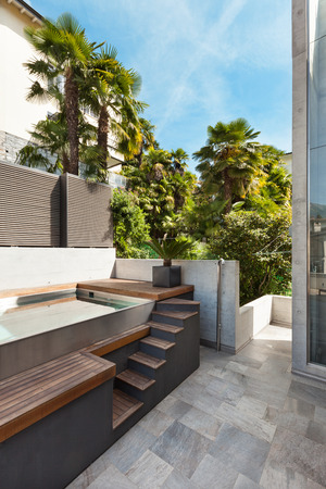 beautiful modern house, view from the terrace, pool photo
