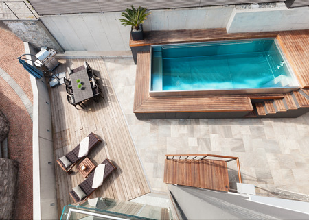 Modern house, swimming pool view, outdoor Stock Photo