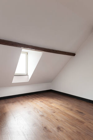 attic: interior, old attic with wooden floor