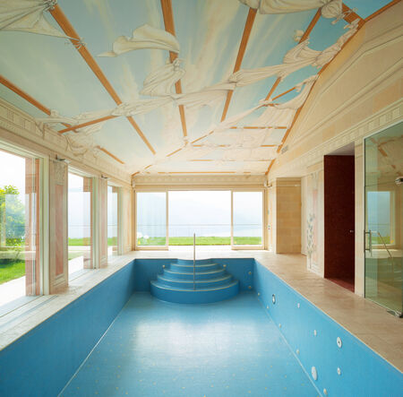 interiors: Interiors of a house with a pool painted