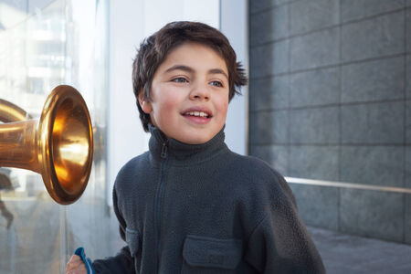 boyhood: child tourist in Milan Stock Photo