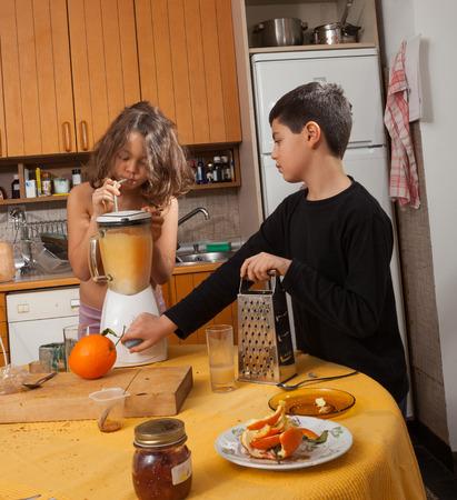 child portrait in the home kitchen photo