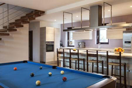 bar interior: Beautiful modern loft, billiards Stock Photo