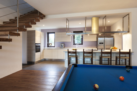 blue white kitchen: nice modern loft, room with billiards