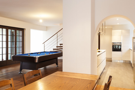 billiards room: modern loft, view of a large room from the table