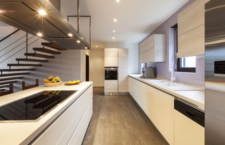 kitchen cabinets: nice modern loft, view of the kitchen