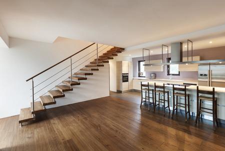 bel loft moderno, vista della cucina