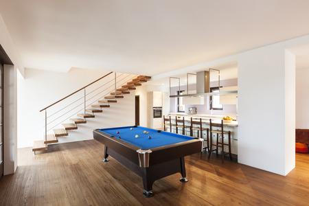 snooker room: modern loft, room with billiard