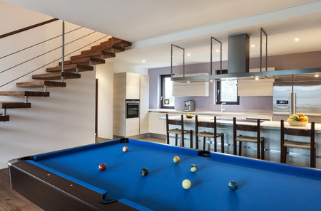 billiards room: Beautiful modern loft, billiards Stock Photo