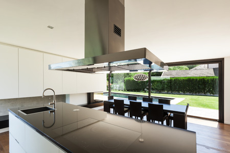interior spaces: Modern villa, interior, beautiful kitchen