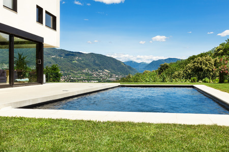 swimming pool: Modern villa , outdoor, view from poolside