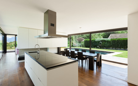 Modern villa, interior, beautiful kitchen photo