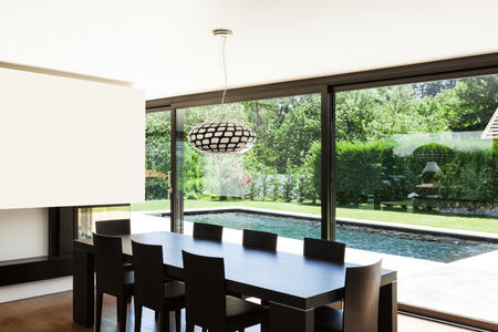 Modern villa, interior, beautiful dining room photo