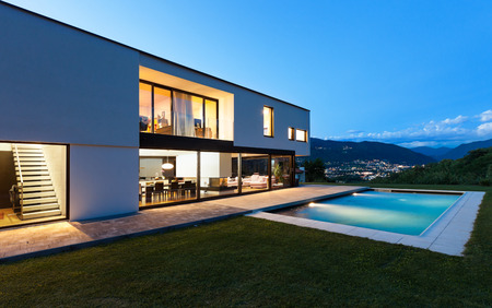 luxury house: Modern villa with pool, night scene