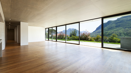 the window: modern concrete house with hardwood floor, wide open space Stock Photo