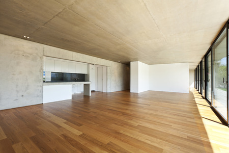 wide open: modern concrete house with hardwood floor, wide open space Stock Photo