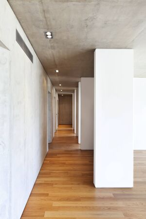 modern concrete house with hardwood floor,  corridor photo