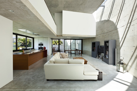 concrete room: beautiful modern house in cement, interior, living room