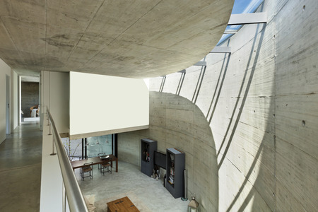 perspective room: beautiful modern house in cement, interior, living room top view