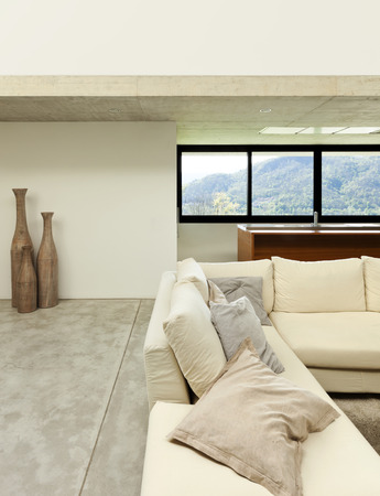 beautiful modern house in cement, interior, living room photo
