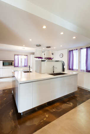 counter top: interior house, nice domestic kitchen, counter top view Stock Photo