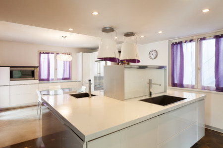 kitchen counter top: interior house, nice domestic kitchen, counter top view Stock Photo