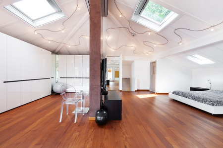 interior loft, nice bedroom view