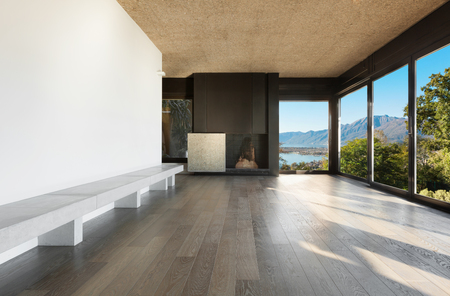 light house: Architecture, modern apartment, empty room with fireplace
