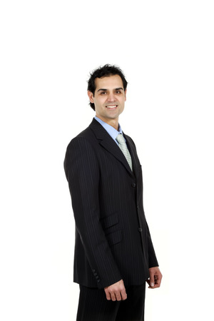 half lenght: business man over white background Stock Photo
