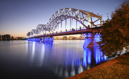 atmosphere construction: architectural connction bridge over the sea Stock Photo
