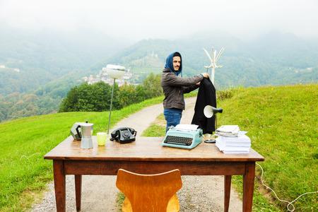unusual: unusual workplace, office outdoors